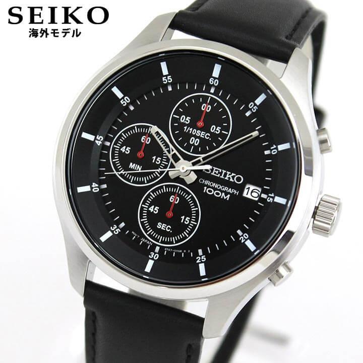 SEIKO セイコー 海外モデル SKS539P2 メンズ 腕時計 ウォッチ 革ベルト レザー クオーツ アナログ 黒 ブラック 逆輸入 誕生日 男性 ギフト プレゼント