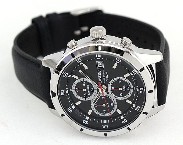 【】SEIKO セイコー SKS571P1 逆輸入 海外モデル メンズ 腕時計 ウォッチ 革ベルト レザー クオーツ ビジネス スーツ アナログ 黒 ブラック 銀 シルバー 誕生日プレゼント 男性 ギフト