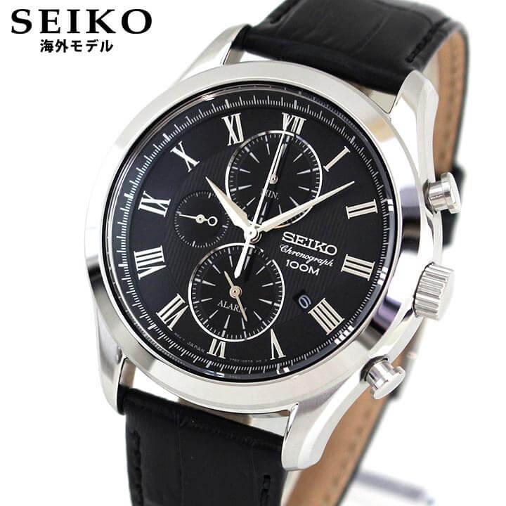 【送料無料】 SEIKO セイコー SNAF71P1 海外モデル メンズ 腕時計 ウォッチ 革ベルト レザー クオーツ アナログ 黒 ブラック 逆輸入 誕生日プレゼント 男性 ギフト