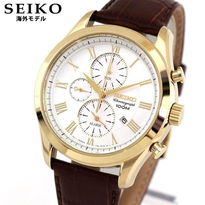 【送料無料】SEIKO セイコー SNAF72P1 海外モデル メンズ 腕時計 ウォッチ 革ベルト レザー クオーツ アナログ 白 ホワイト 茶 ブラウン 金 ゴールド 逆輸入 誕生日プレゼント 男性 ギフト