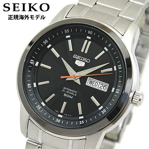 【送料無料】SEIKO セイコー SNKM89KC SNKM89K1 正規海外モデル メンズ 腕時計 ウォッチ メタル バンド 機械式 メカニカル 自動巻き アナログ 黒 ブラック 銀 シルバー 逆輸入 誕生日プレゼント 男性 ギフト
