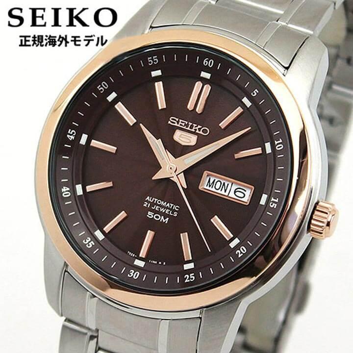 【送料無料】SEIKO セイコー SNKM90KC SNKM90K1 正規海外モデル メンズ 腕時計 ウォッチ メタル バンド 機械式 メカニカル 自動巻き アナログ ブラウン シルバー 逆輸入 誕生日プレゼント 男性 ギフト