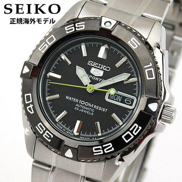 【送料無料】SEIKO セイコー SNZB23JC SNZB23J1 正規海外モデル メンズ 腕時計 ウォッチ メタル バンド 機械式 メカニカル 自動巻き アナログ 黒 ブラック 銀 シルバー 逆輸入 誕生日プレゼント 男性 ギフト
