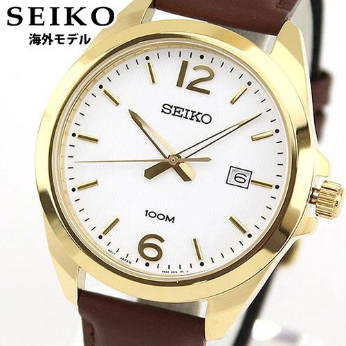 【送料無料】SEIKO セイコー 逆輸入 海外モデル SUR216P1 メンズ 腕時計 ウォッチ 革ベルト レザー クオーツ アナログ ホワイト ゴールド ブラウン 誕生日プレゼント 男性 ギフト