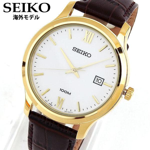 【送料無料】SEIKO セイコー CLASSIC クラシック SUR226P1 海外モデル 逆輸入 メンズ 腕時計 ウォッチ 革ベルト レザー クオーツ アナログ 金 ゴールド 白 ホワイト 誕生日プレゼント 男性 ギフト