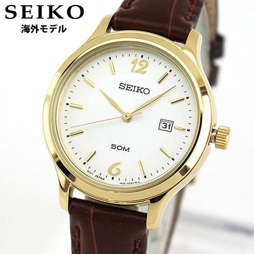 【送料無料】SEIKO セイコー 逆輸入 海外モデル SUR790P1 レディース 腕時計 ウォッチ 革ベルト レザー クオーツ アナログ ホワイト ゴールド ブラウン 誕生日プレゼント 女性 ギフト