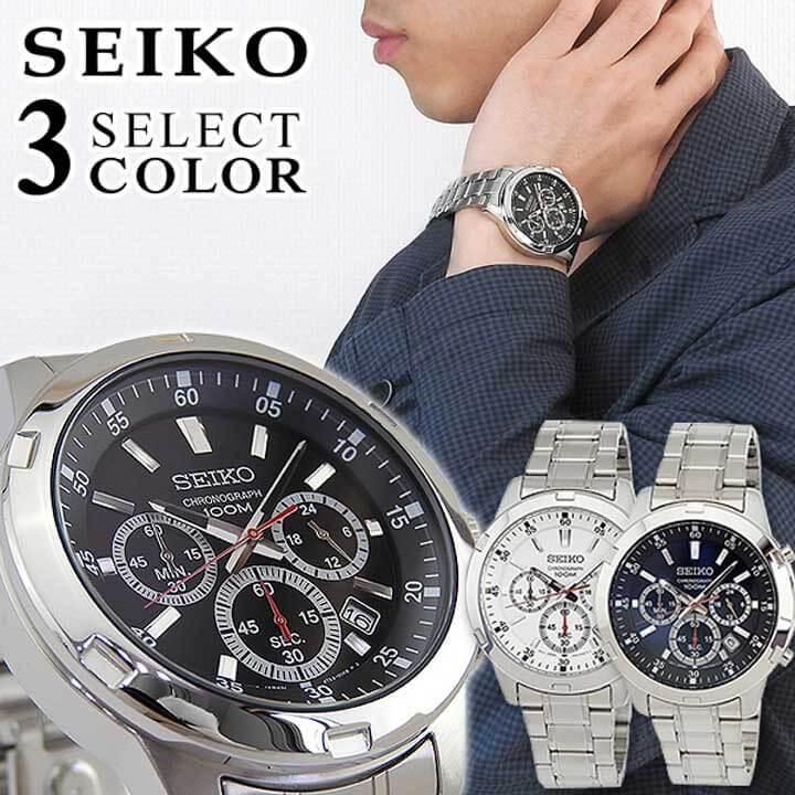 【送料無料】 SEIKO セイコー Neo Sports ネオスポーツ メンズ 腕時計 メタル クロノグラフ カレンダー クオーツ アナログ 黒 ブラック 白 ホワイト 青 ブルー 銀 シルバー 海外モデル 誕生日プレゼント 男性 ギフト