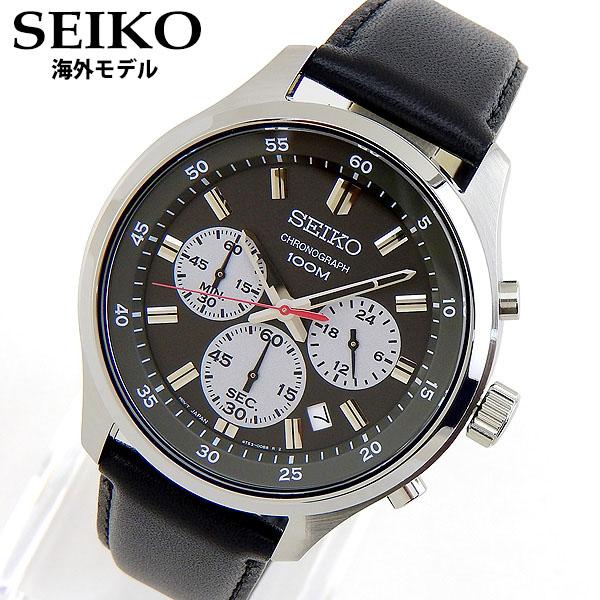 【送料無料】 SEIKO セイコー SKS595P1 海外モデル メンズ 腕時計 革ベルト レザー クオーツ アナログ 黒 ブラック グレー 海外モデル 誕生日プレゼント 男性 ギフト