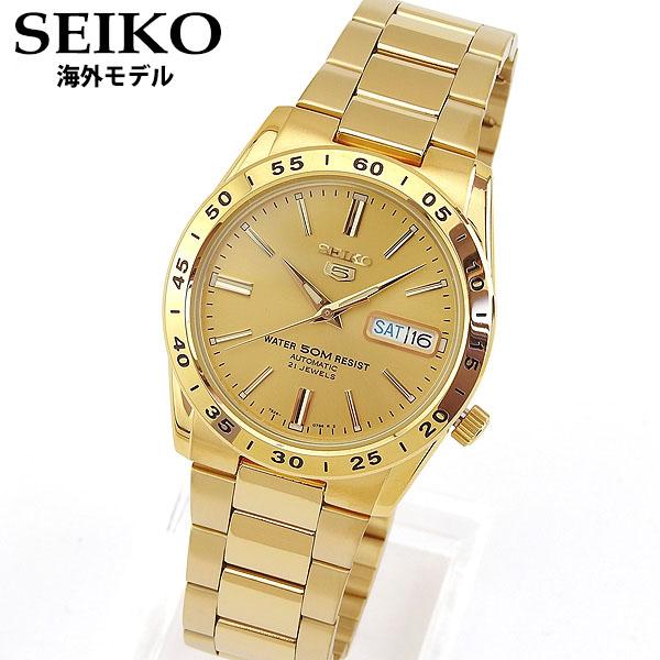 【送料無料】 SEIKO セイコー SNKE06K1 セイコー5 メンズ 腕時計 メタル カレンダー 機械式 メカニカル 自動巻き アナログ 金 ゴールド 海外モデル 誕生日プレゼント 男性 ギフト