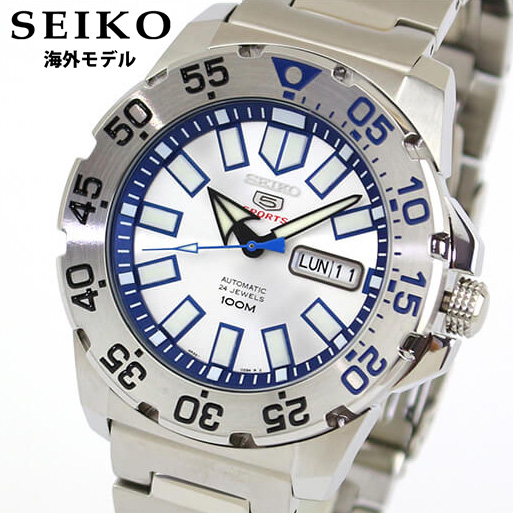 SEIKO セイコー 5 Sports ファイブスポーツ メンズ 腕時計 メタル 機械式 メカニカル 自動巻き アナログ 青 ブルー 銀 シルバー 誕生日プレゼント 男性 バレンタイン ギフト SRP481K1 海外モデル