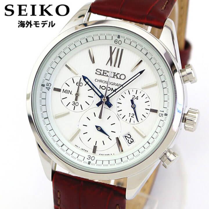 【送料無料】 SEIKO セイコー SSB157P1 メンズ 腕時計 革ベルト レザー クロノグラフ カレンダー クオーツ アナログ 茶 レッドブラウン 銀 シルバー 海外モデル 誕生日プレゼント 男性 ギフト