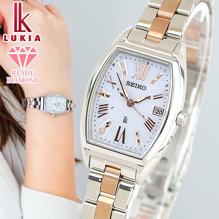 【トートバッグ付き】SEIKO セイコー LUKIA ルキア Lady Diamond レディダイヤ SSVW117 レディース 腕時計 電波ソーラー ピンクゴールド 銀 シルバー 国内正規品 商品到着後レビューを書いて7年保証
