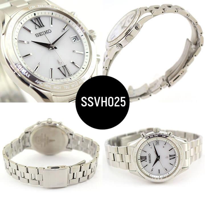 SEIKO セイコー LUKIA ルキア ペアウォッチ 電波ソーラー SSVH025 SSVV035 メンズ レディース 腕時計 メタル シルバー 国内正規品 母の日 ギフト Pair watch