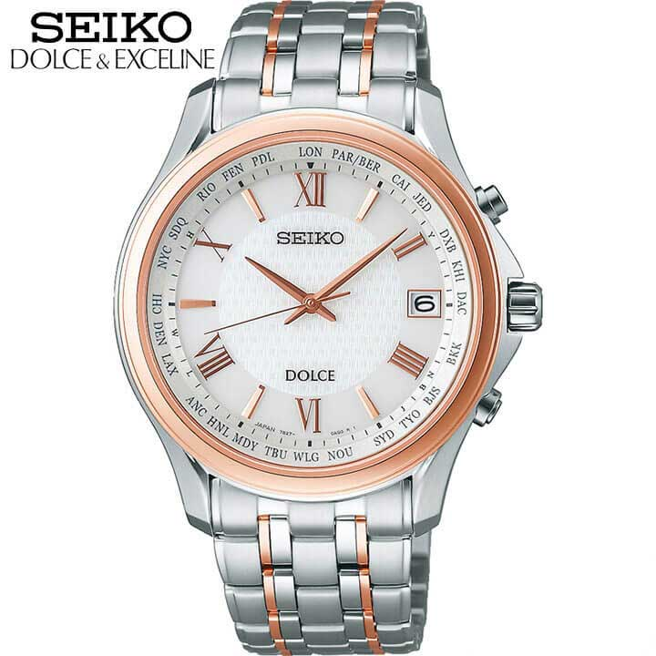 SEIKO セイコー DOLCE & EXCELINE ドルチェ&エクセリーヌ SADZ202 メンズ 腕時計 チタン メタル 電波ソーラー 白 ホワイト ピンクゴールド 国内正規品 商品到着後レビューを書いて7年保証 時計