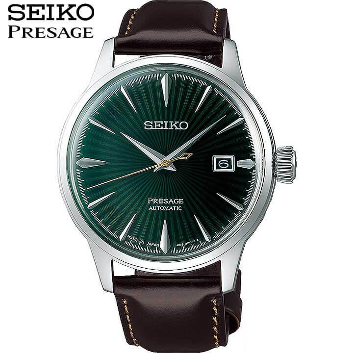 【今治タオル付き】SEIKO セイコー PRESAGE プレザージュ ベーシックライン メンズ 腕時計 牛皮革 カーフ 機械式 自動巻き 緑 グリーン 茶 ブラウン SARY133 誕生日プレゼント 男性 ギフト 国内正規品