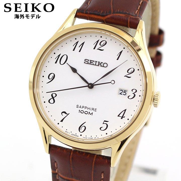 SEIKO セイコー 逆輸入 SGEH78P1 メンズ 腕時計 革ベルト レザー カレンダー クオーツ アナログ 茶 ブラウン 金 ゴールド 海外モデル 時計