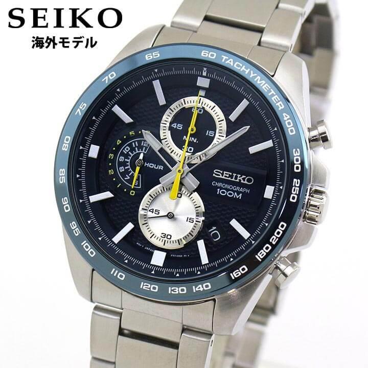 【送料無料】SEIKO セイコー 逆輸入 海外モデル SSB259P1 メンズ 腕時計 メタル クロノグラフ クオーツ アナログ 青 ネイビー 銀 シルバー 誕生日プレゼント 卒業祝い 入学祝い 男性 ギフト 海外モデル
