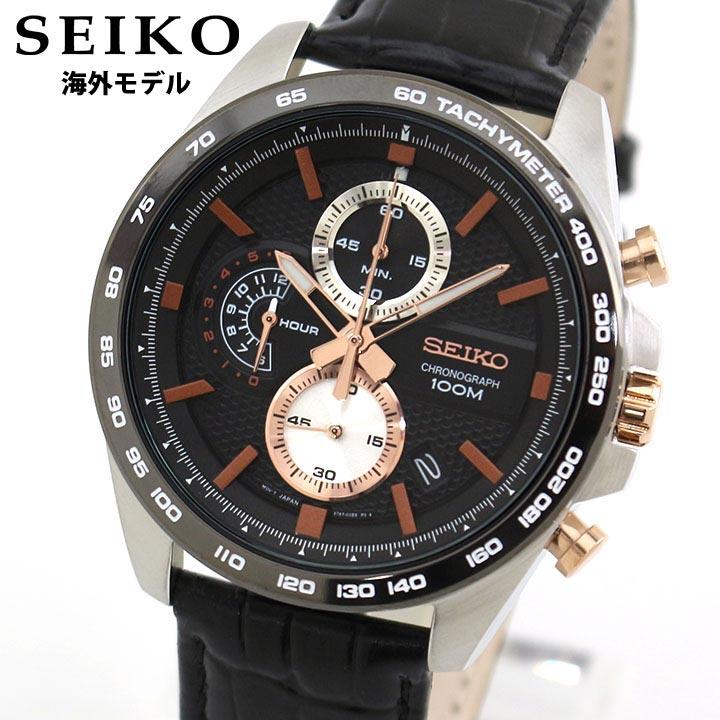 【送料無料】SEIKO セイコー 逆輸入 海外モデル SSB265P1 メンズ 腕時計 革ベルト レザー クオーツ アナログ 黒 ブラック ピンクゴールド ローズゴールド 誕生日プレゼント 卒業祝い 入学祝い 男性 ギフト 海外モデル