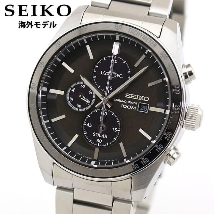 SEIKO セイコー 逆輸入 海外モデル SSC715P1 メンズ 腕時計 メタル クロノグラフ ソーラー アナログ 黒 ブラック 銀 シルバー 誕生日 男性 ギフト プレゼント 海外モデル