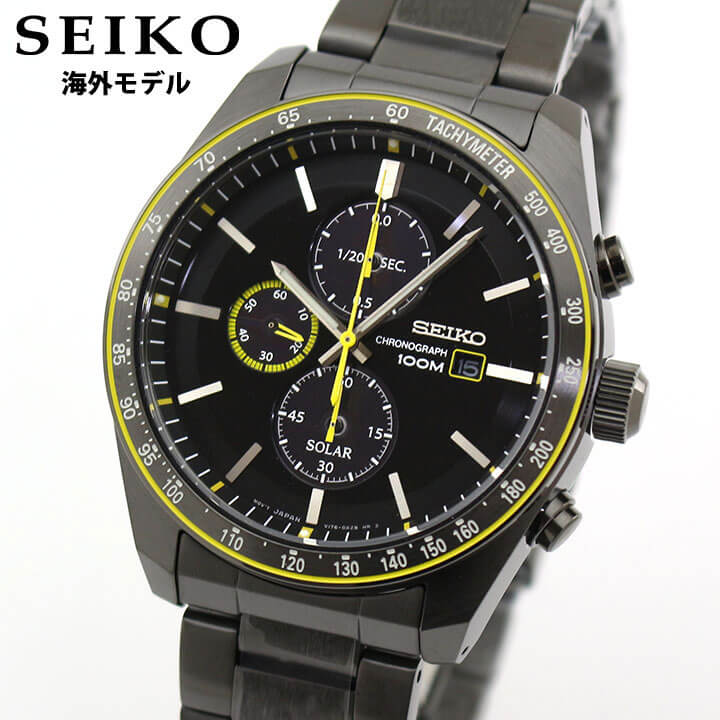 SEIKO セイコー 逆輸入 海外モデル SSC723P1 メンズ 腕時計 メタル クロノグラフ ソーラー アナログ イエロー 黒 ブラック 誕生日 男性 ギフト プレゼント