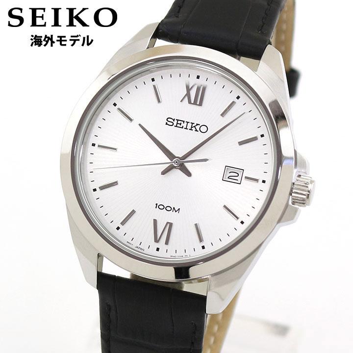 【先着!250円OFFクーポン】SEIKO セイコー 逆輸入 SUR283P1 メンズ 腕時計 革ベルト レザー クオーツ アナログ 黒 ブラック 銀 シルバー 海外モデル