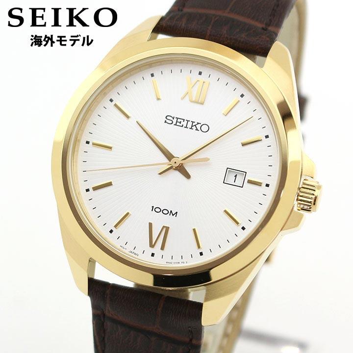 SEIKO セイコー 逆輸入 SUR284P1 メンズ 腕時計 革ベルト レザー クオーツ アナログ 茶 ブラウン 金 ゴールド 海外モデル 時計