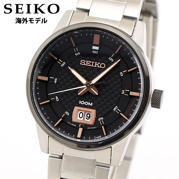 【送料無料】SEIKO セイコー 逆輸入 海外モデル SUR285P1 メンズ 腕時計 メタル アナログ 黒 ブラック ピンクゴールド ローズゴールド 銀 シルバー 誕生日プレゼント 男性 ギフト