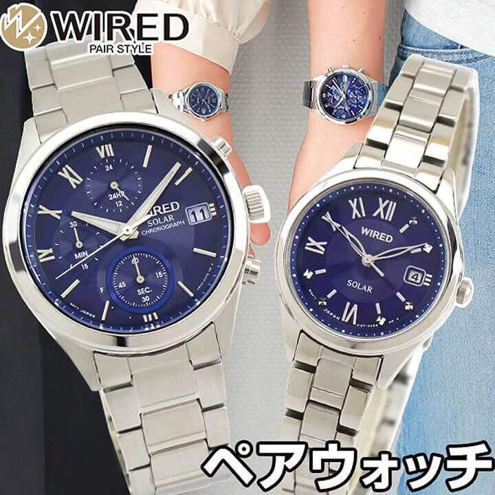 【送料無料】SEIKO セイコー WIRED PAIR STYLE ワイアード ペアスタイル メンズ レディース 腕時計 メタル ソーラー 青 ブルー 銀 シルバー 誕生日プレゼント 卒業祝い 入学祝い 男性 女性 ギフト 国内正規品