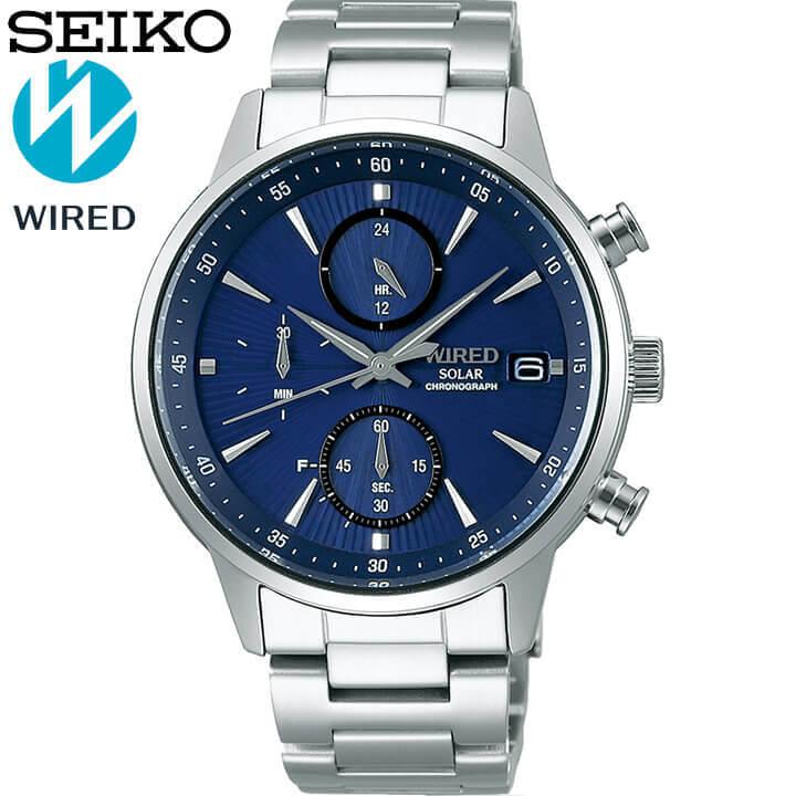【サコッシュ付き】SEIKO セイコー WIRED ワイアード ソーラー クロノグラフ メンズ 腕時計 時計 メタル 青 ネイビー 銀 シルバー 誕生日プレゼント 男性 ギフト AGAD407 国内正規品 商品到着後レビューを書いて7年保証