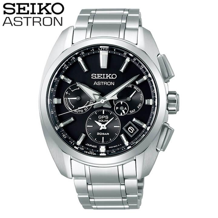 【大谷翔平ボブルヘッド付き】SEIKO セイコー ASTRON アストロン 5X デュアルタイム メンズ 腕時計 黒 ブラック 銀 シルバー ソーラーGPS衛星電波修正 誕生日 男性 ギフト プレゼント SBXC067 国内正規品