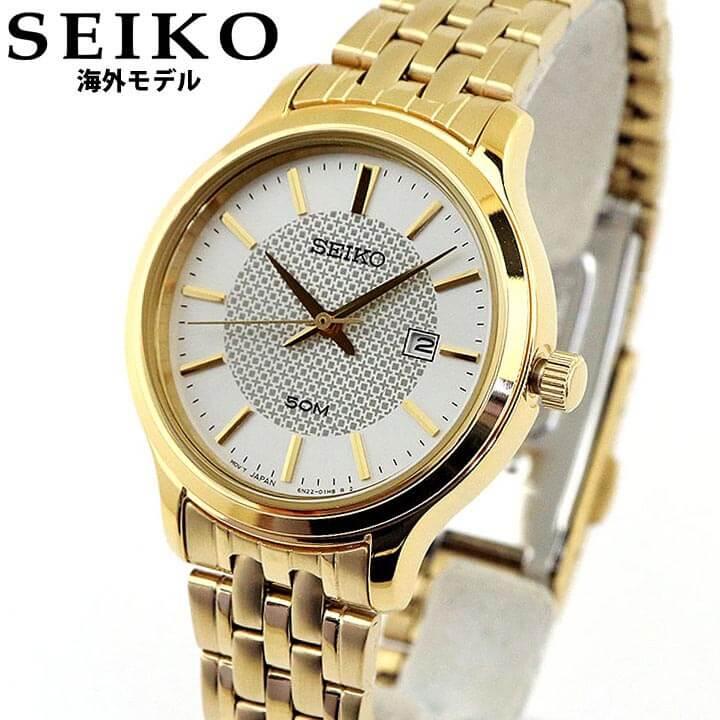 SEIKO セイコー 海外SEIKO レディース 腕時計 メタル カレンダー クオーツ アナログ 金 ゴールド 銀 シルバー スタイリッシュ おしゃれ 誕生日 女性 ギフト プレゼント SUR646P1 海外モデル