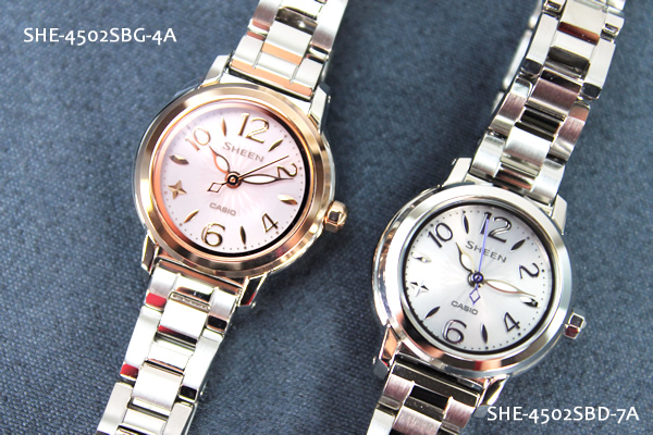 ★ 她-4502SBD-7A 小卡西欧卡西欧手表手表女士光泽场景太阳能手表圆的脸白的案例蓝宝石玻璃母天父的一天