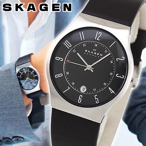 スカーゲン SKAGEN 腕時計 233XXLSLB 北欧デザイン レザーベルト 時計 メンズ ブランド 海外モデル ブラック 黒 北欧デザイン 誕生日プレゼント 男性 クリスマス ギフト