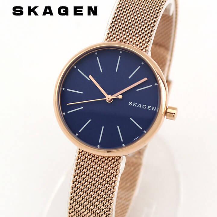 【送料無料】 SKAGEN スカーゲン SIGNATUR シグネチャー SKW2593 レディース 腕時計 メタル クオーツ アナログ 青 ネイビー ピンクゴールド ローズゴールド 海外モデル