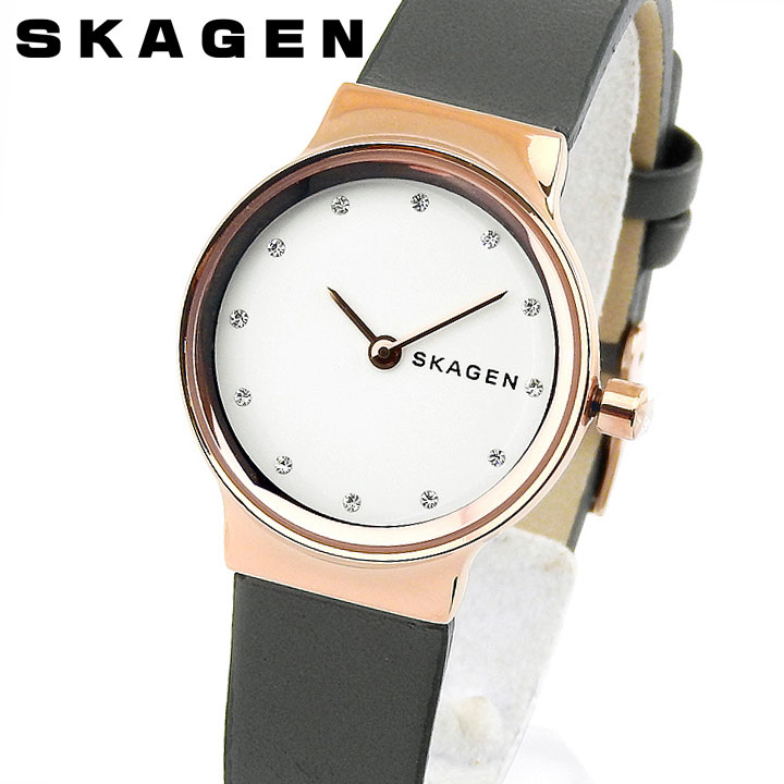 SKAGEN スカーゲン FREJA フレヤ SKW2669 レディース 腕時計 革ベルト レザー 白 ホワイト ピンクゴールド ローズゴールド グレー 誕生日プレゼント 女性 ギフト 海外モデル
