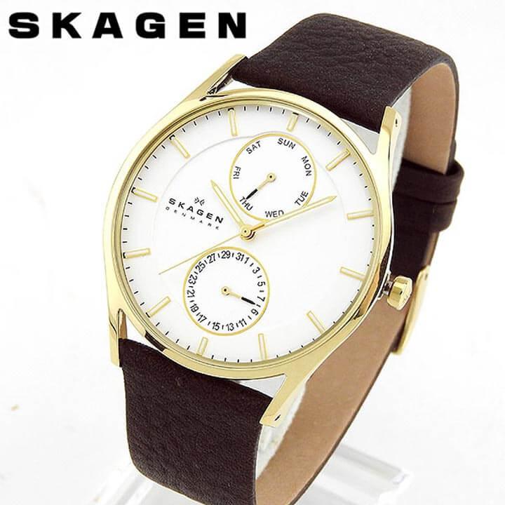 【送料無料】SKAGEN スカーゲン SKW6066 海外モデル メンズ 腕時計 ウォッチ 革ベルト レザー クオーツ アナログ 白 ホワイト 茶 ブラウン 北欧デザイン 誕生日プレゼント 男性 卒業祝い 入学祝い ギフト