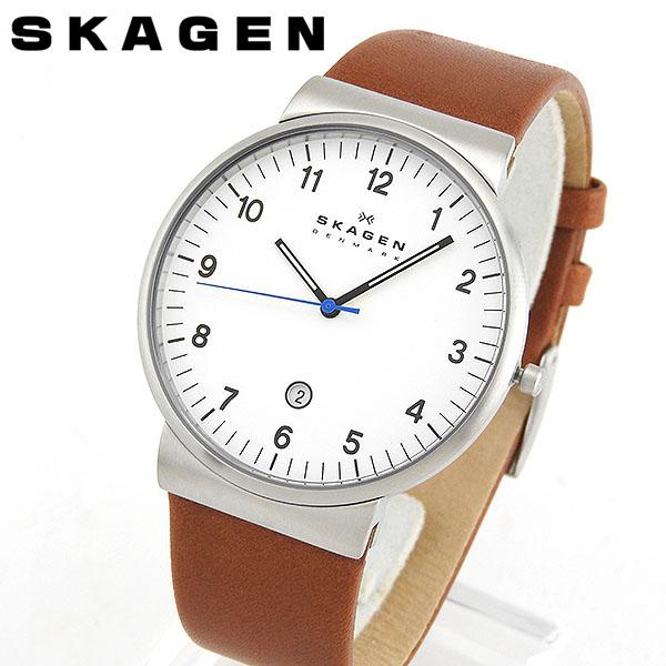 SKAGEN スカーゲン SKW6082 海外モデル メンズ 腕時計 ウォッチ 革ベルト レザー クオーツ アナログ 白 ホワイト 茶 ブラウン 北欧デザイン 誕生日プレゼント 男性 クリスマス ギフト