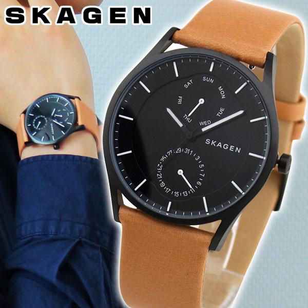 【送料無料】SKAGEN スカーゲン HOLST ホルスト SKW6265 メンズ 腕時計 革ベルト レザー クオーツ アナログ 黒 ブラック 茶 ブラウン 海外モデル 卒業祝い 入学祝い