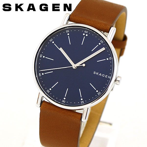 SKAGEN スカーゲン SIGNATUR シグネチャー SKW6355 メンズ 腕時計 北欧 革ベルト レザー シンプル 青 ネイビー 茶 ブラウン 海外モデル 誕生日プレゼント 男性 ギフト