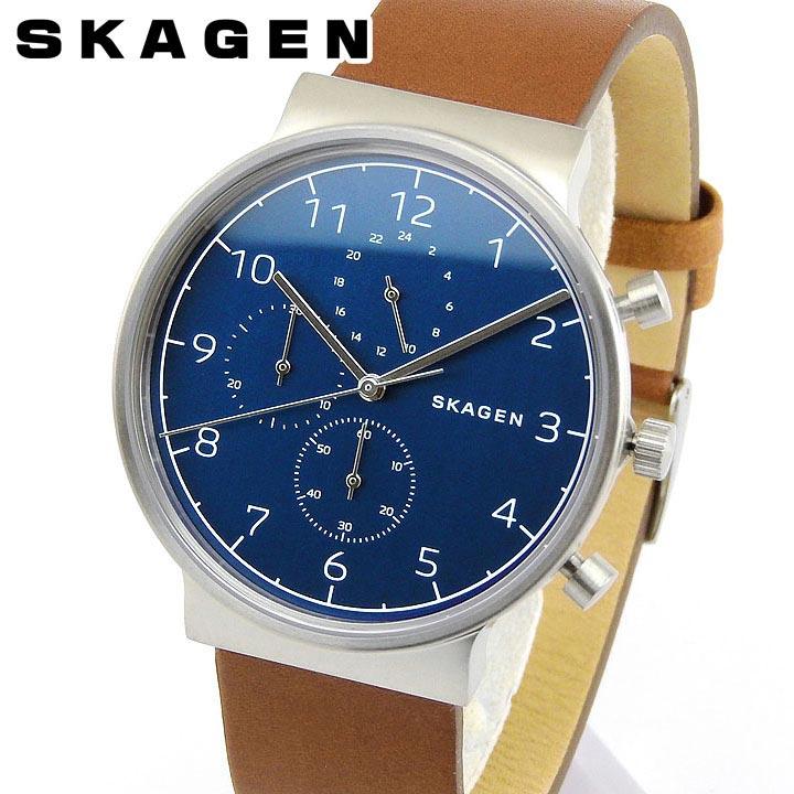 【送料無料】SKAGEN スカーゲン アンカー SKW6358 メンズ 腕時計 革ベルト レザー クロノグラフ 青 ネイビー 茶 ブラウン 銀 シルバー 誕生日プレゼント 男性 卒業祝い 入学祝い ギフト 海外モデル