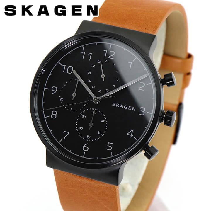 【送料無料】SKAGEN スカーゲン ANCHER アンカー SKW6359 メンズ 腕時計 北欧 革ベルト レザー 黒 ブラック 茶 ブラウン 海外モデル 誕生日プレゼント 男性 卒業祝い 入学祝い ギフト