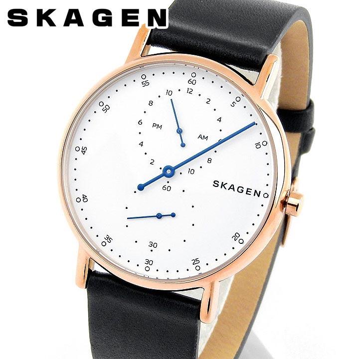 【送料無料】SKAGEN スカーゲン シグネチャー SKW6390 メンズ 腕時計 革ベルト レザー 黒 ブラック 白 ホワイト ピンクゴールド ローズゴールド 誕生日プレゼント 男性 卒業祝い 入学祝い ギフト 海外モデル