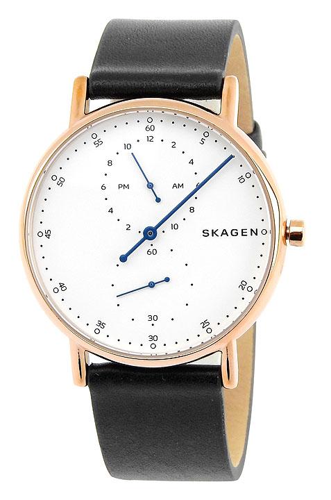 SKAGEN スカーゲン シグネチャー SKW6390 メンズ 腕時計 革ベルト レザー 黒 ブラック 白 ホワイト ピンクゴールド ローズゴールド 誕生日プレゼント 男性 卒業祝い 入学祝い ギフト 海外モデル