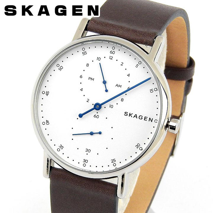 【送料無料】SKAGEN スカーゲン シグネチャー SKW6391 メンズ 腕時計 革ベルト レザー 白 ホワイト 茶 ブラウン 銀 シルバー クリスマス 誕生日プレゼント 男性 ギフト 海外モデル