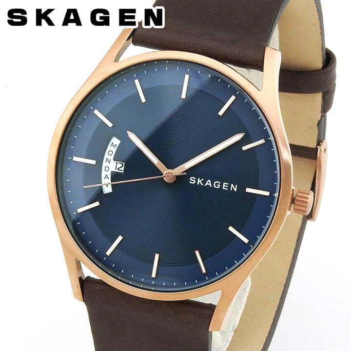 【送料無料】SKAGEN スカーゲン メンズ 北欧 腕時計 レザー ブルー 青 ブラウン 茶色 クオーツ アナログ SKW6395 海外モデル 誕生日プレゼント 男性 ギフト