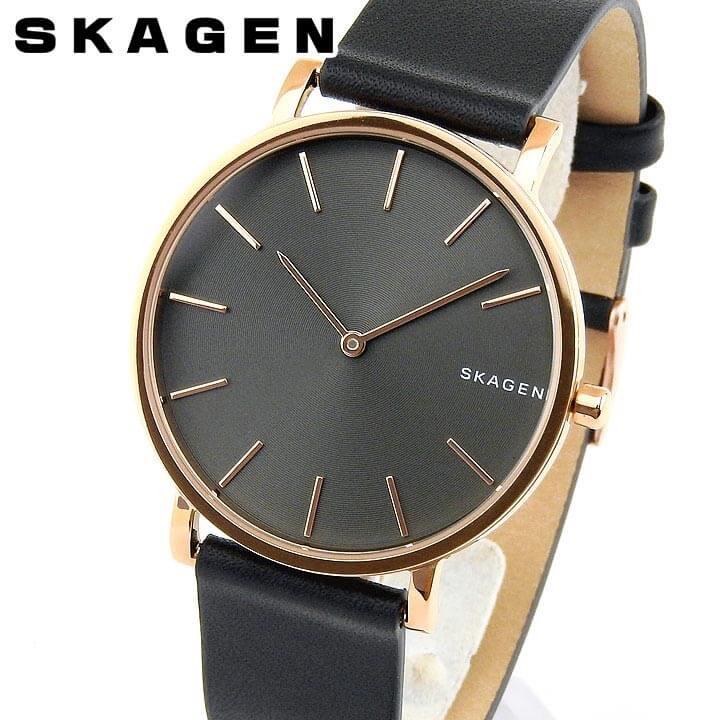 【送料無料】SKAGEN スカーゲン ハーゲン HAGEN SKW6447 メンズ 腕時計 革ベルト レザー 黒 ブラック ピンクゴールド ローズゴールド 誕生日プレゼント 男性 卒業祝い 入学祝い ギフト 海外モデル