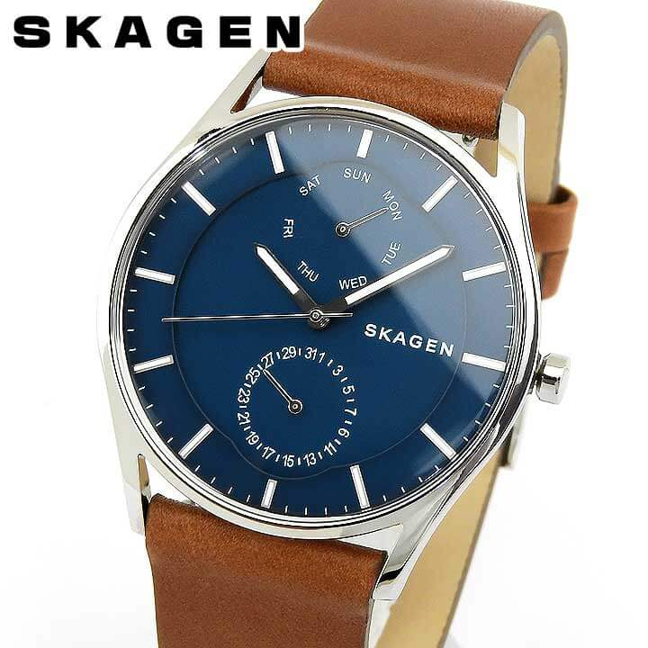 SKAGEN スカーゲン HOLST ホルスト SKW6449 メンズ 腕時計 革ベルト レザー カレンダー クオーツ アナログ 青 ネイビー 茶 ブラウン 海外モデル
