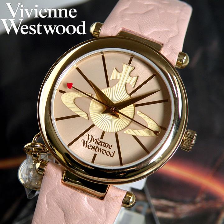 Vivienne Westwood レディース 腕時計 ブランド ヴィヴィアンウエストウッド VV006PKPK 海外モデル 時計 オーブ アナログ ハート 王冠 チャーム レザー ピンク ゴールド レディース 腕時計 誕生日プレゼント 女性 ギフト