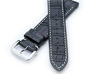【バンビ】Rコレクション マットクロコダイル(竹斑)ブラック/ブラウン ロレックス対応 時計ベルト 時計バンド