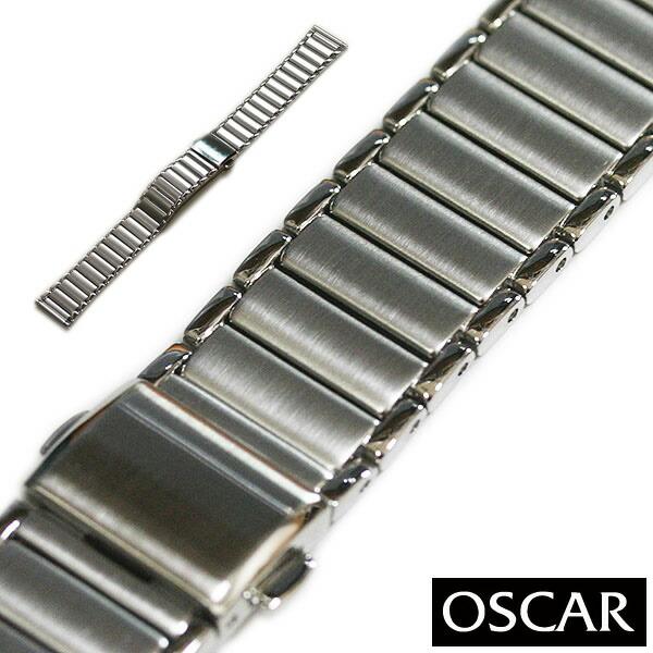【バンビ】OSCAR オスカー メタルブレス シルバー 18mm 金属ベルト 時計ベルト 時計バンド